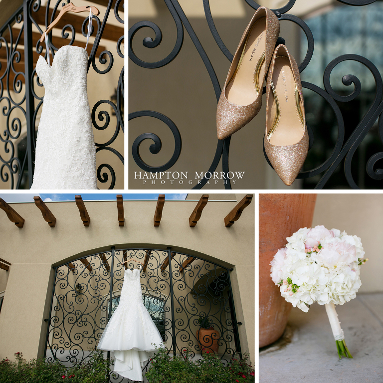 dress and wedding shoes at chapel ana villa