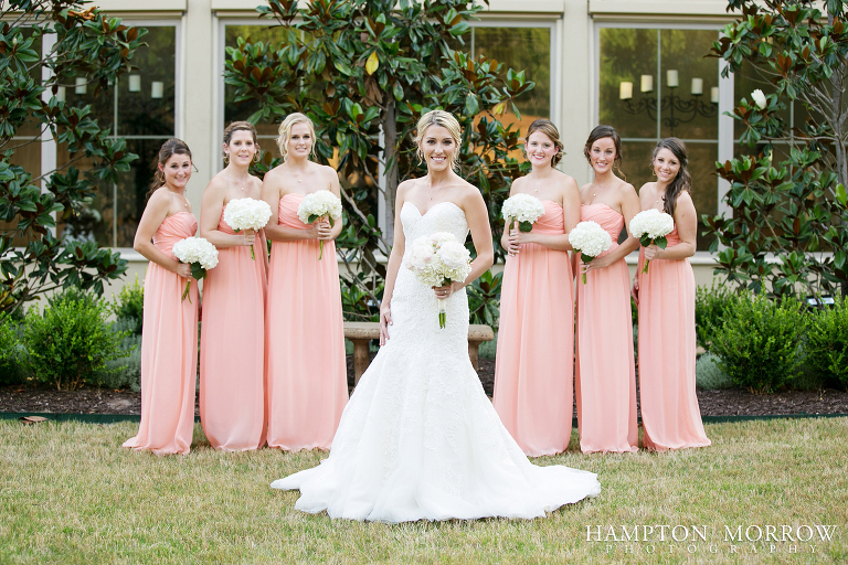 coral bridesmaid dresses at chapel ana villa